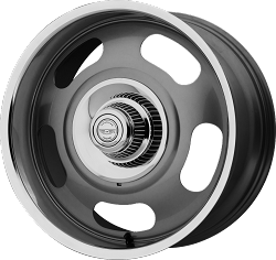 VN506 20x8 Mag Gray Center Polished Lip Blank Bolt Pattern 4.50