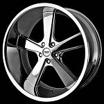 Nova Chrome 20x8.5 and 20x10 5x5.0 Wheel and Tire Package
