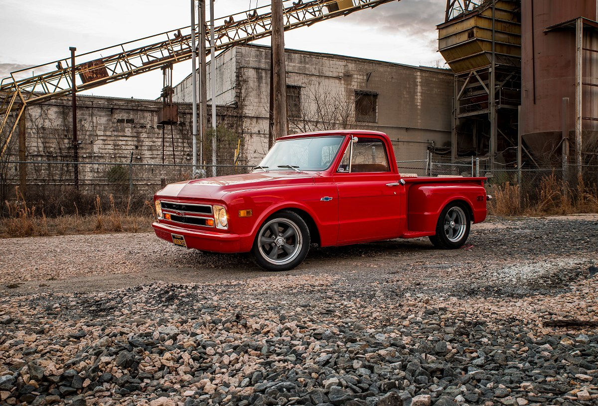 1968 Chevy C10 With Classic Torq Thrust Ii Wheels Pick Up Converted From 6 Lug To 5x50 And Running 18x7 Front 18x8 Rear American Racing