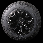 Assault Matte Black 20x12 6x135, 6x5.5 -43mm Package with 35/12.50R20 Trail Grapplers