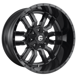 Sledge 17x9 Matte Black Gloss Black Lip 5x114.3 (5x4.5), 5x127 (5x5) Bolt Pattern -12mm Offset