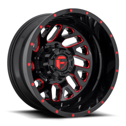 Triton 20x8.25 Gloss Black Red Tinted Clear 8x165.1 (8x6.5) Bolt Pattern -240mm Offset