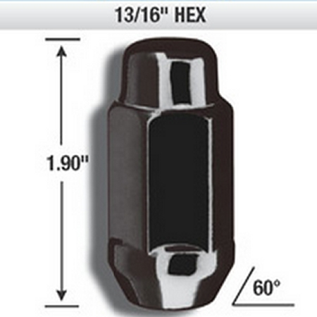 14mm x 1.50 Black Chrome XL Acorn Bulge Lug Nuts (32 Pack)