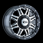 186 BLACK/MACHINED FACE 16x8  5x127, 5x139.7  +10mm Offset