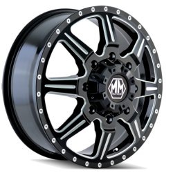 MONSTIR 8101 FRONT BLACK/MILLED SPOKES 22x8.25  8x200  +127mm Offset