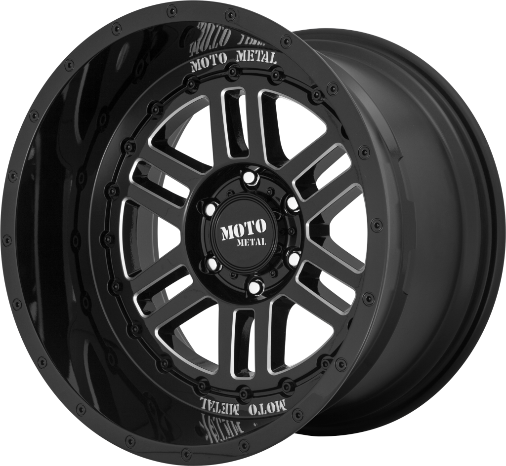 Deep Six 20x12 Gloss Black Milled 5x139.7 (5x5.5) Bolt Pattern -44mm Offset
