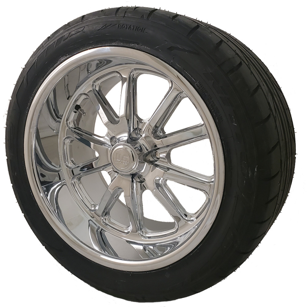 U. S. Mags Chrome Rambler 18x8 5x4.75 Wheel and Tire Package Set of Four