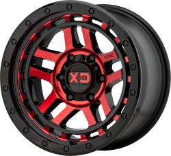 Recon 17x8.5 6x139.7 Gloss Black Machined w/ Red Tint (18 mm)