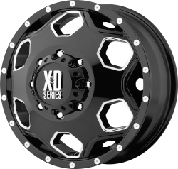 Batallion 22x8.25 Gloss Black With Milled Accents 8x200 Bolt Pattern 127mm Offset