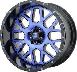 GRENADE 20x10 5x127.00 SATIN BLACK MACH FACE W/ BLUE TINTED CLEAR COAT (-24 mm)