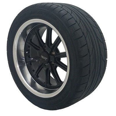 Black Rodder 17x7 5x4.75  Wheel and Tire Package Set of Four