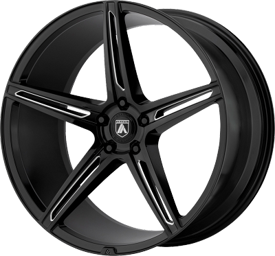 Alpha 5 20x8.5 Gloss Black Milled 5x114.3 (5x4.5) Bolt Pattern 38mm Offset