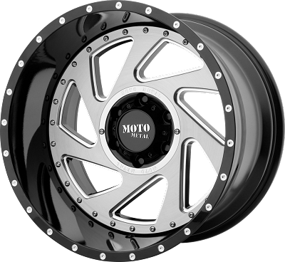 CHANGE UP 20x12 5x139.70 GLOSS BLACK MILLED W/ BRUSHED INSERTS (-44 mm)
