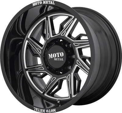 Hurricane 22x12 Gloss Black Milled - Left Directional 6x139.7 (6x5.5) Bolt Pattern -44mm Offset