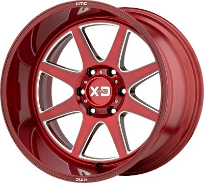 Pike 22x10 6x139.7 Brushed Red w/ Milled Accents (-18 mm)