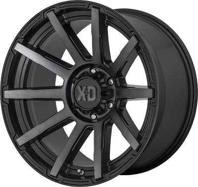Outbreak 20x10 Satin Black With Gray Tint 5x127 (5x5) Bolt Pattern -18mm Offset